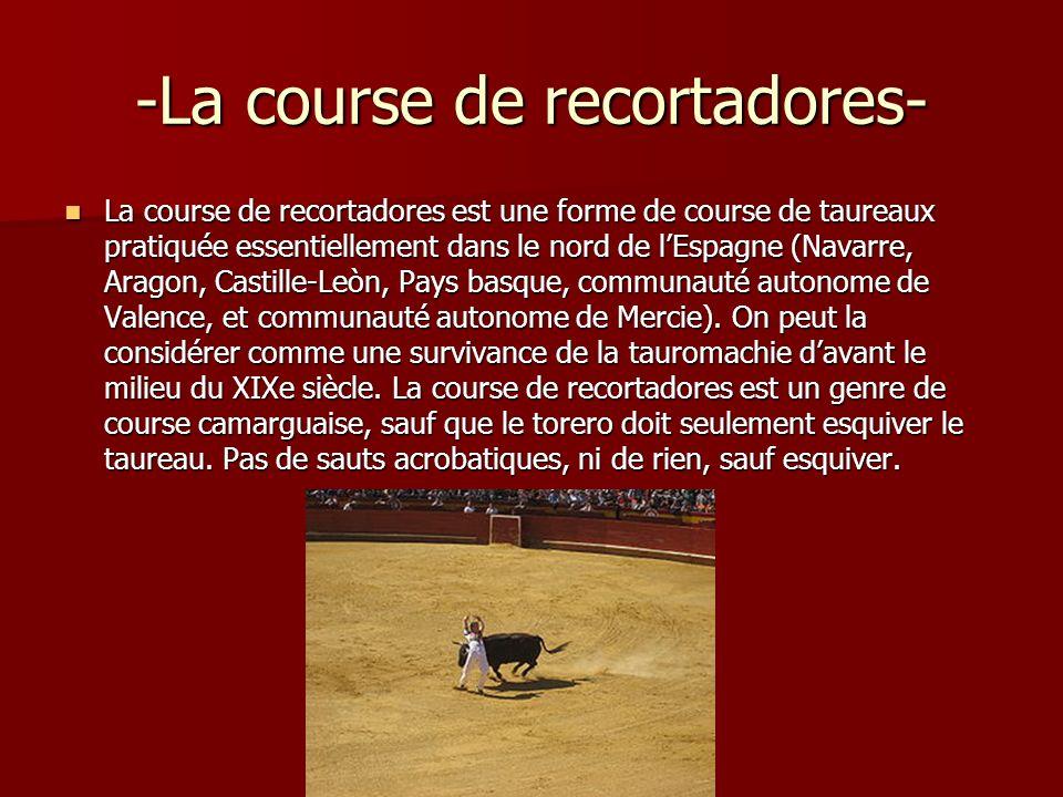 -La course de recortadores- La course de recortadores est une forme de course de taureaux pratiquée essentiellement dans le nord de lEspagne (Navarre,