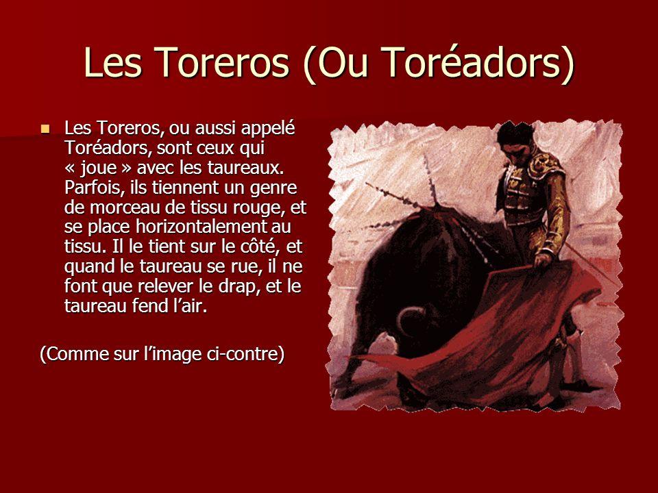 Les Toreros (Ou Toréadors) Les Toreros, ou aussi appelé Toréadors, sont ceux qui « joue » avec les taureaux. Parfois, ils tiennent un genre de morceau