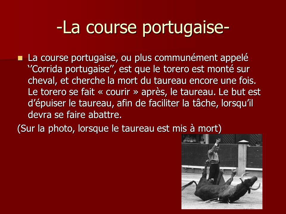 -La course portugaise- La course portugaise, ou plus communément appelé Corrida portugaise, est que le torero est monté sur cheval, et cherche la mort