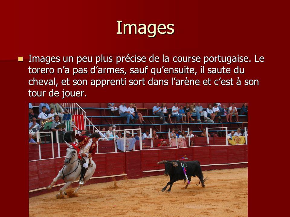Images Images un peu plus précise de la course portugaise. Le torero na pas darmes, sauf quensuite, il saute du cheval, et son apprenti sort dans larè