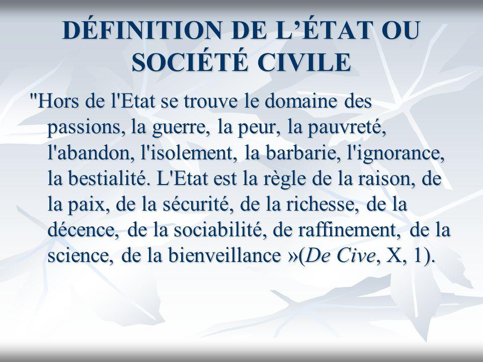 DÉFINITION DE LÉTAT OU SOCIÉTÉ CIVILE