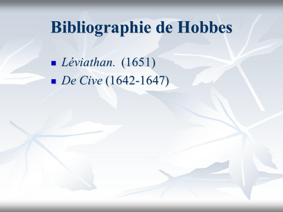 Bibliographie de Hobbes Léviathan. (1651) Léviathan. (1651) De Cive (1642-1647) De Cive (1642-1647)
