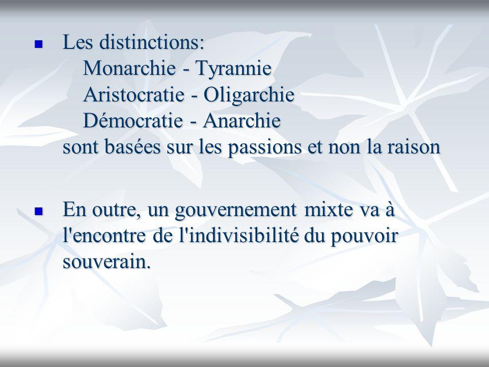 Les distinctions: Monarchie - Tyrannie Aristocratie - Oligarchie Démocratie - Anarchie sont basées sur les passions et non la raison Les distinctions: