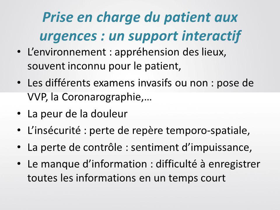 Prise en charge du patient aux urgences : un support interactif Lenvironnement : appréhension des lieux, souvent inconnu pour le patient, Les différen
