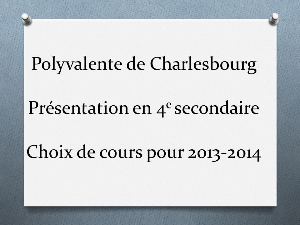 Polyvalente de Charlesbourg Présentation en 4 e secondaire Choix de cours pour 2013-2014