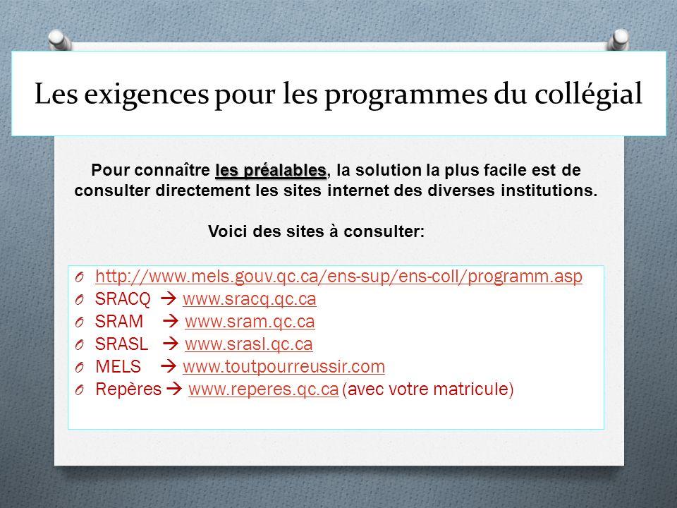 Les exigences pour les programmes du collégial O http://www.mels.gouv.qc.ca/ens-sup/ens-coll/programm.asp http://www.mels.gouv.qc.ca/ens-sup/ens-coll/
