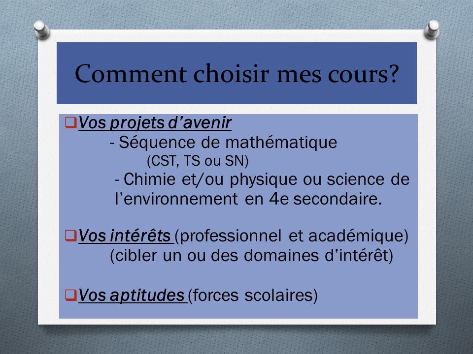 Comment choisir mes cours? Vos projets davenir - Séquence de mathématique (CST, TS ou SN) - Chimie et/ou physique ou science de lenvironnement en 4e s
