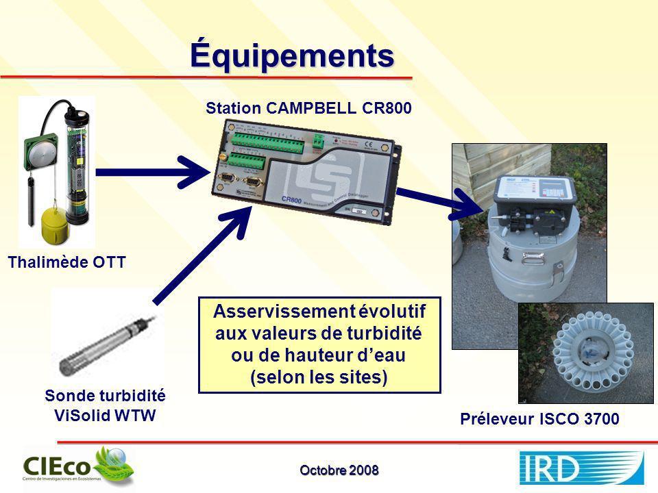 Équipements Thalimède OTT Station CAMPBELL CR800 Sonde turbidité ViSolid WTW Préleveur ISCO 3700 Asservissement évolutif aux valeurs de turbidité ou de hauteur deau (selon les sites) Octobre 2008