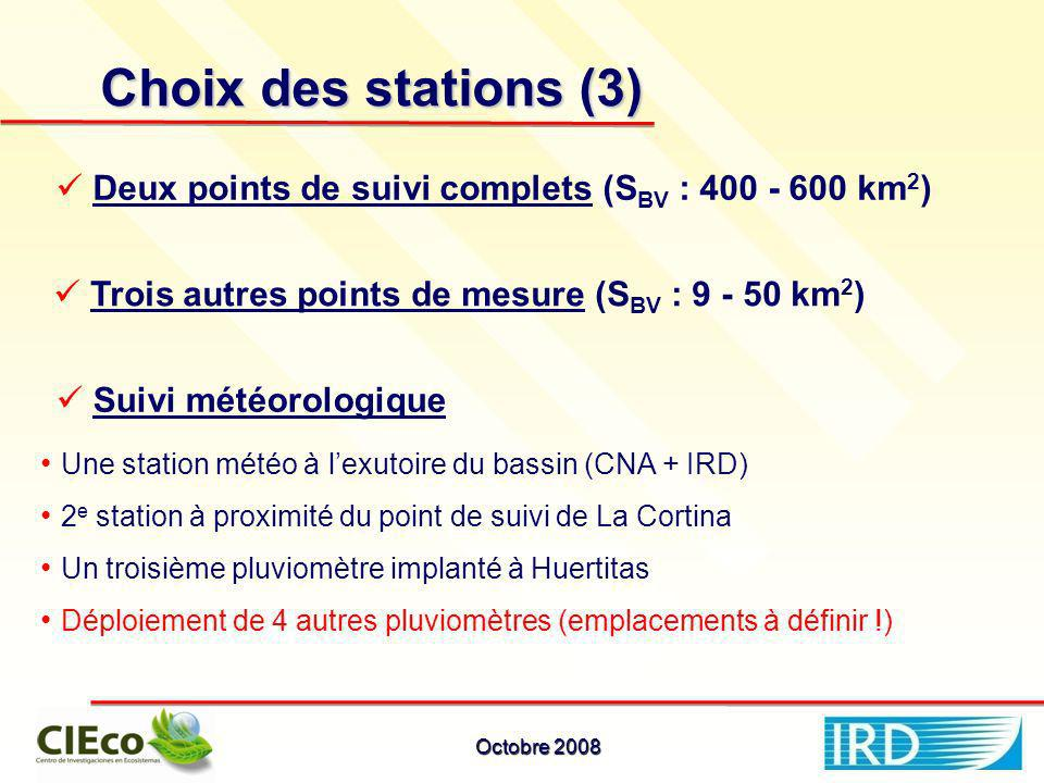 Choix des stations (3) Deux points de suivi complets (S BV : 400 - 600 km 2 ) Trois autres points de mesure (S BV : 9 - 50 km 2 ) Suivi météorologique Une station météo à lexutoire du bassin (CNA + IRD) 2 e station à proximité du point de suivi de La Cortina Un troisième pluviomètre implanté à Huertitas Déploiement de 4 autres pluviomètres (emplacements à définir !) Octobre 2008