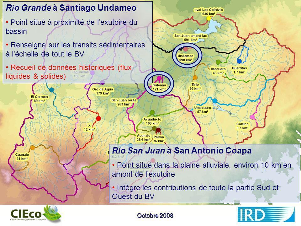 Choix des stations Rio Grande à Santiago Undameo Point situé à proximité de lexutoire du bassin Renseigne sur les transits sédimentaires à léchelle de tout le BV Disponibilité de données historiques (flux liquide & solide) Rio Grande à San Antonio Coapa Point en amont de Santiago Undameo situé à proximité de lexutoire du bassin Renseigne sur les transits sédimentaires à léchelle de tout le BV Disponibilité de données historiques (flux liquide & solide) R í o Grande à Santiago Undameo Point situé à proximité de lexutoire du bassin Renseigne sur les transits sédimentaires à léchelle de tout le BV Recueil de données historiques (flux liquides & solides) R í o San Juan à San Antonio Coapa Point situé dans la plaine alluviale, environ 10 km en amont de lexutoire Intègre les contributions de toute la partie Sud et Ouest du BV Octobre 2008