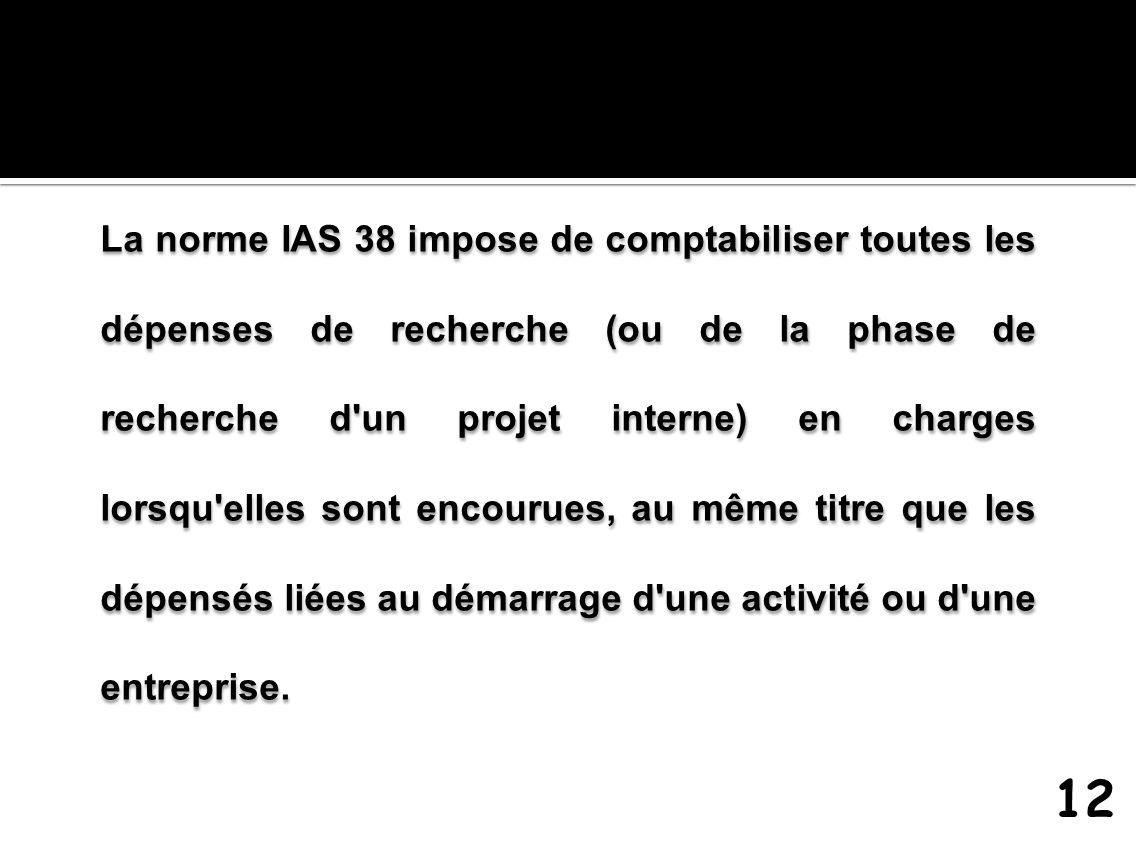 La norme IAS 38 impose de comptabiliser toutes les dépenses de recherche (ou de la phase de recherche d'un projet interne) en charges lorsqu'elles son
