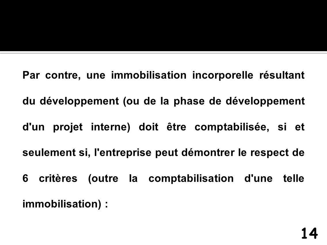 Par contre, une immobilisation incorporelle résultant du développement (ou de la phase de développement d'un projet interne) doit être comptabilisée,