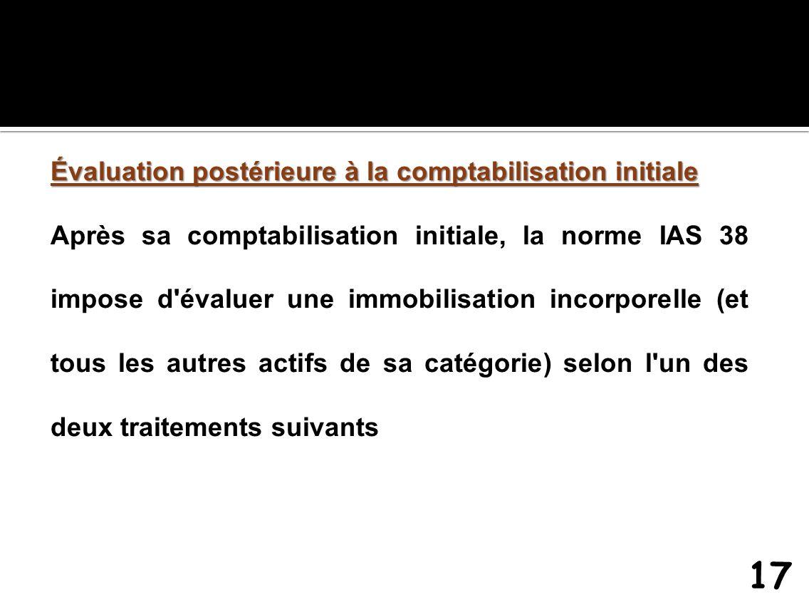 Évaluation postérieure à la comptabilisation initiale Après sa comptabilisation initiale, la norme IAS 38 impose d'évaluer une immobilisation incorpor