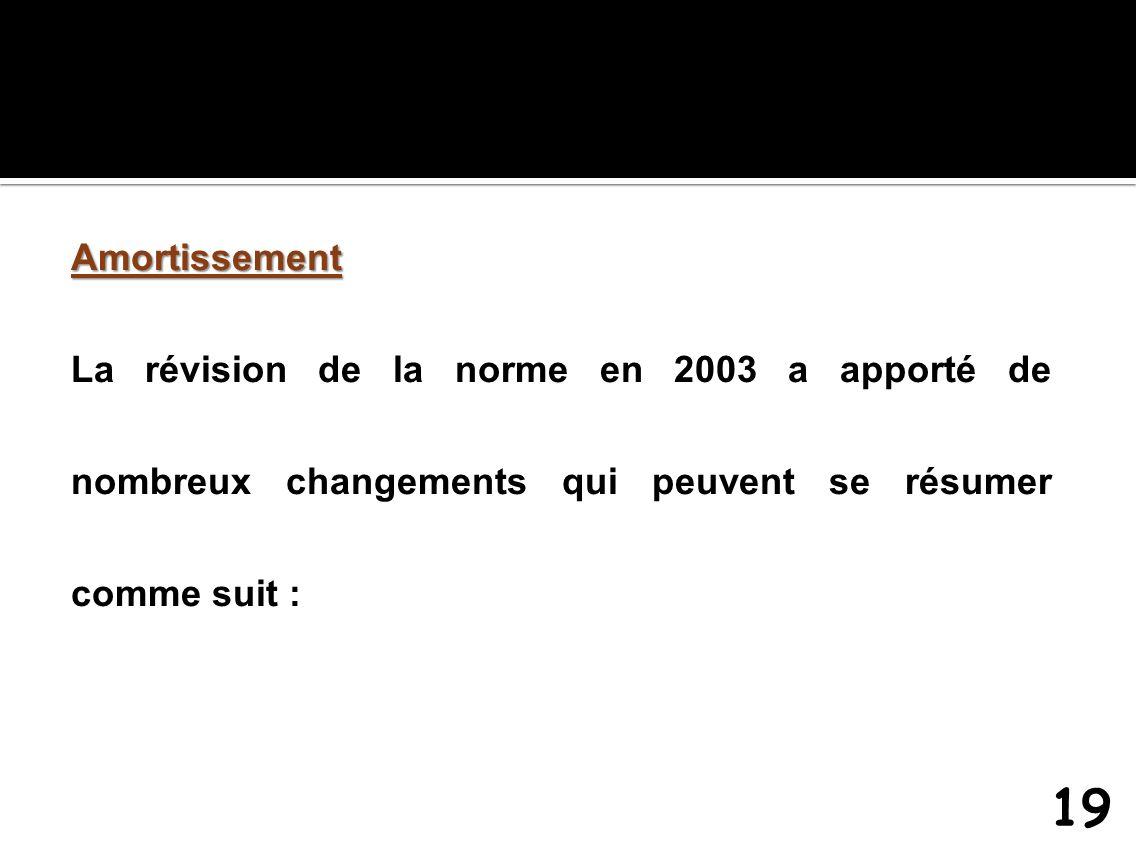 Amortissement La révision de la norme en 2003 a apporté de nombreux changements qui peuvent se résumer comme suit : 19
