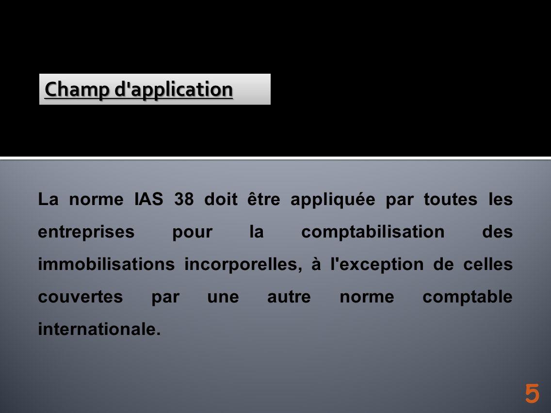 La norme IAS 38 doit être appliquée par toutes les entreprises pour la comptabilisation des immobilisations incorporelles, à l'exception de celles cou