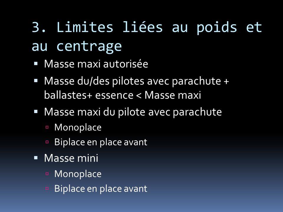 3. Limites liées au poids et au centrage Masse maxi autorisée Masse du/des pilotes avec parachute + ballastes+ essence < Masse maxi Masse maxi du pilo
