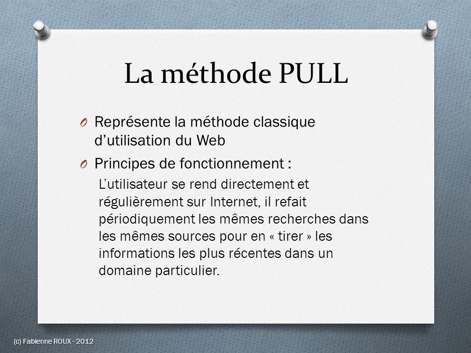 La méthode PULL O Représente la méthode classique dutilisation du Web O Principes de fonctionnement : Lutilisateur se rend directement et régulièremen