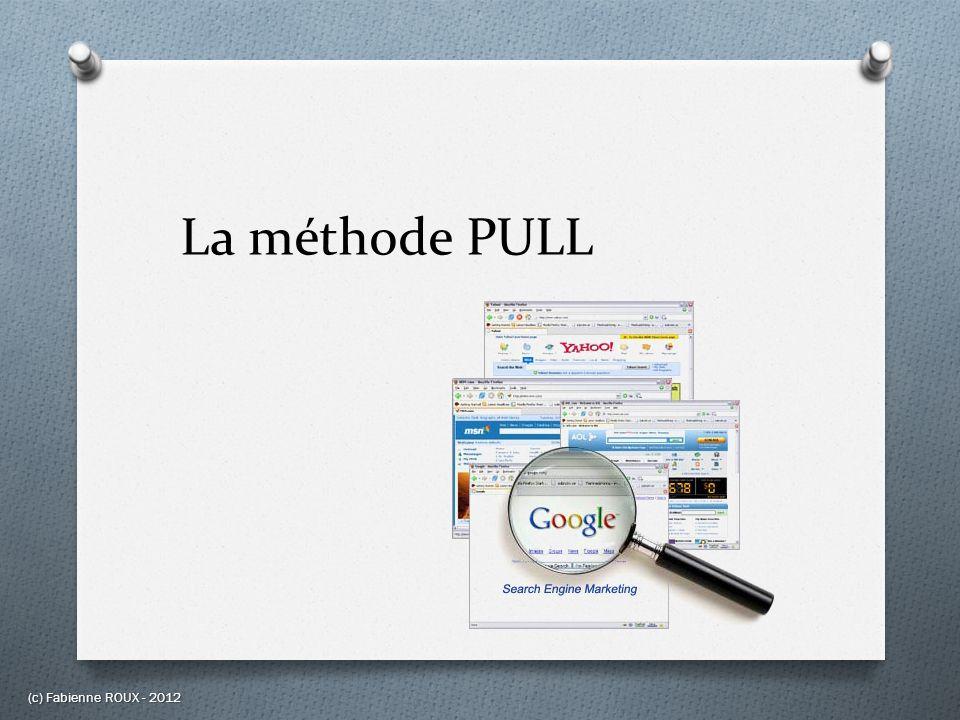 La méthode PULL O Représente la méthode classique dutilisation du Web O Principes de fonctionnement : Lutilisateur se rend directement et régulièrement sur Internet, il refait périodiquement les mêmes recherches dans les mêmes sources pour en « tirer » les informations les plus récentes dans un domaine particulier.