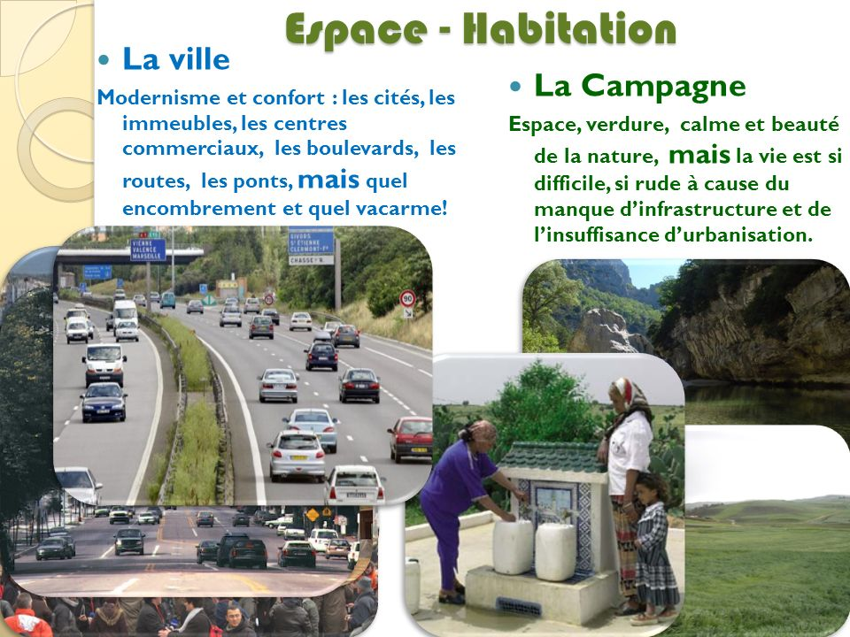 Espace - Habitation La ville Modernisme et confort : les cités, les immeubles, les centres commerciaux, les boulevards, les routes, les ponts, mais qu