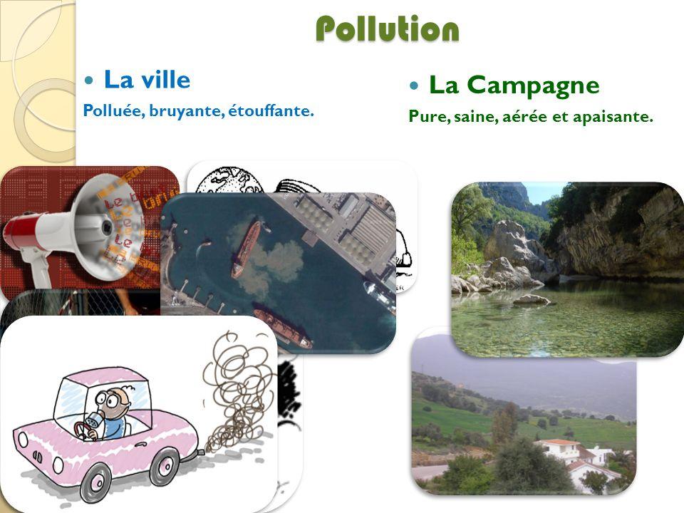 Pollution La ville Polluée, bruyante, étouffante. La Campagne Pure, saine, aérée et apaisante.