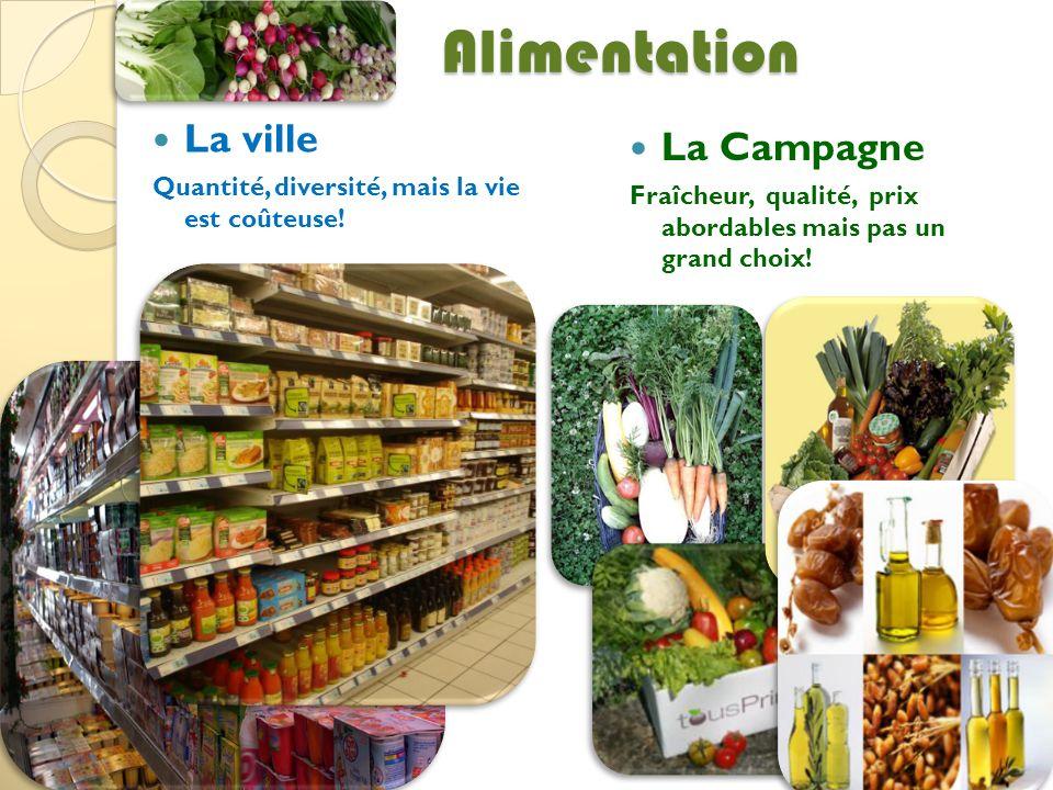 Alimentation La ville Quantité, diversité, mais la vie est coûteuse! La Campagne Fraîcheur, qualité, prix abordables mais pas un grand choix!