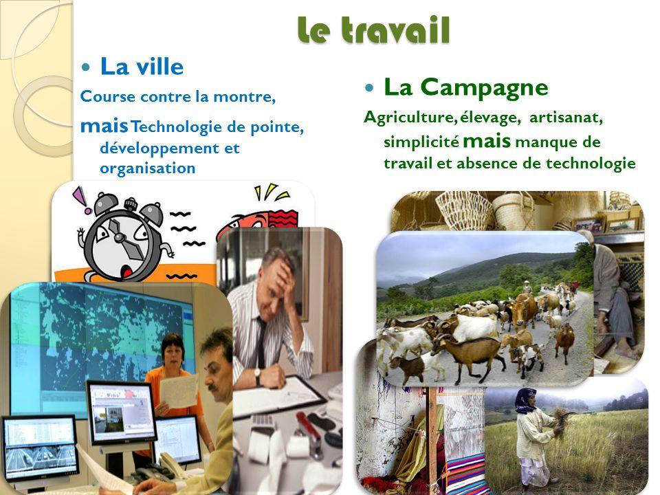 Le travail La ville Course contre la montre, mais Technologie de pointe, développement et organisation La Campagne Agriculture, élevage, artisanat, si