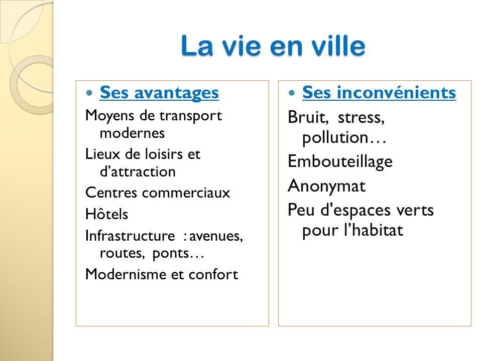 La vie en ville Ses avantages Moyens de transport modernes Lieux de loisirs et dattraction Centres commerciaux Hôtels Infrastructure : avenues, routes