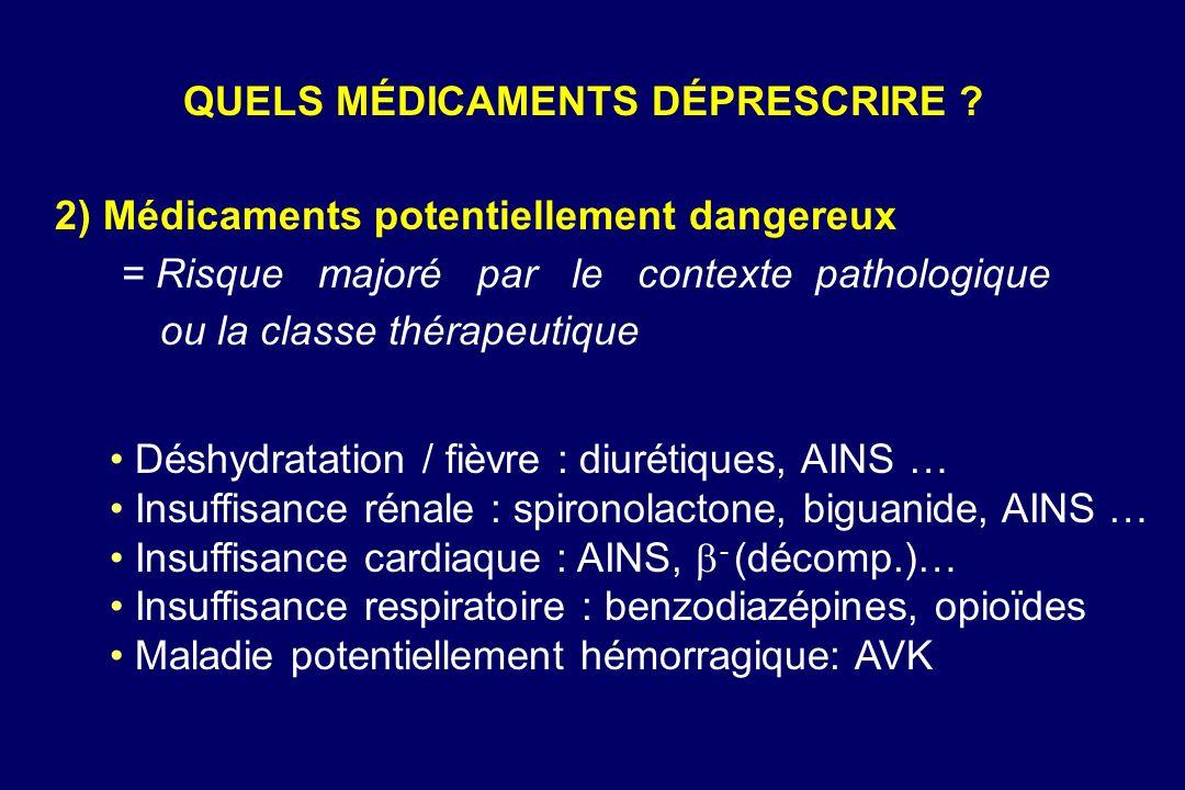 2) Médicaments potentiellement dangereux = Risque majoré par le contexte pathologique ou la classe thérapeutique Déshydratation / fièvre : diurétiques