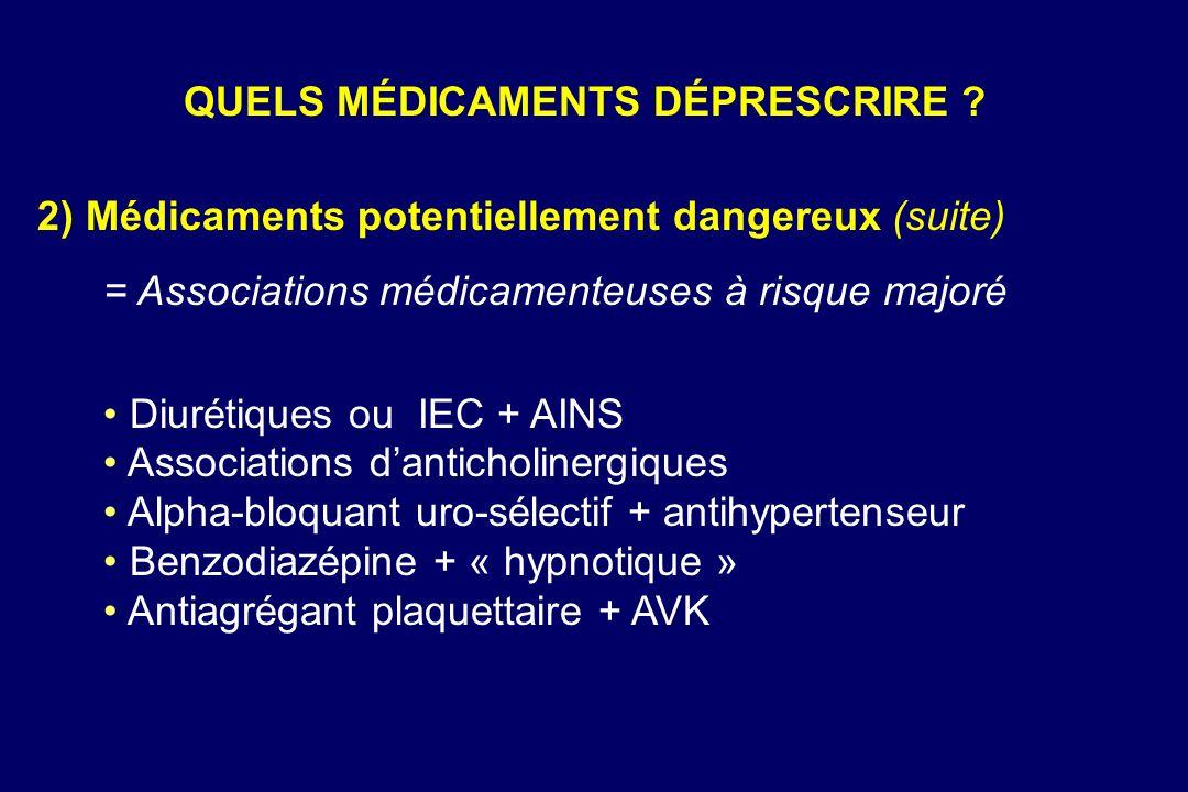 2) Médicaments potentiellement dangereux (suite) = Associations médicamenteuses à risque majoré Diurétiques ou IEC + AINS Associations danticholinergi