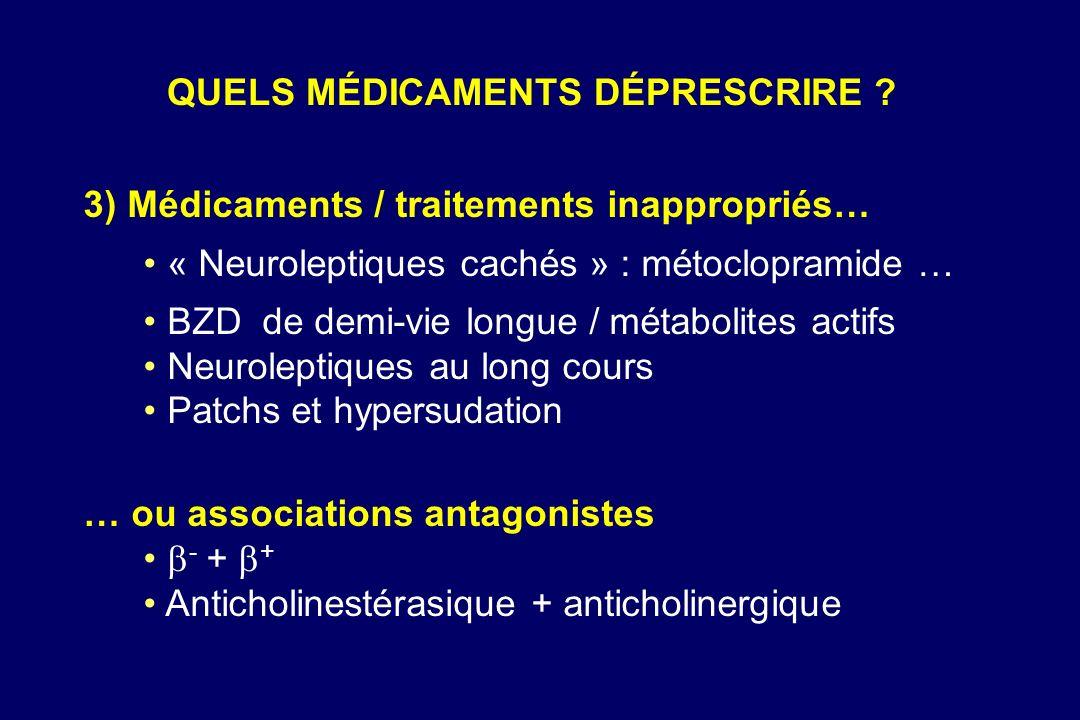 3) Médicaments / traitements inappropriés… « Neuroleptiques cachés » : métoclopramide … BZD de demi-vie longue / métabolites actifs Neuroleptiques au