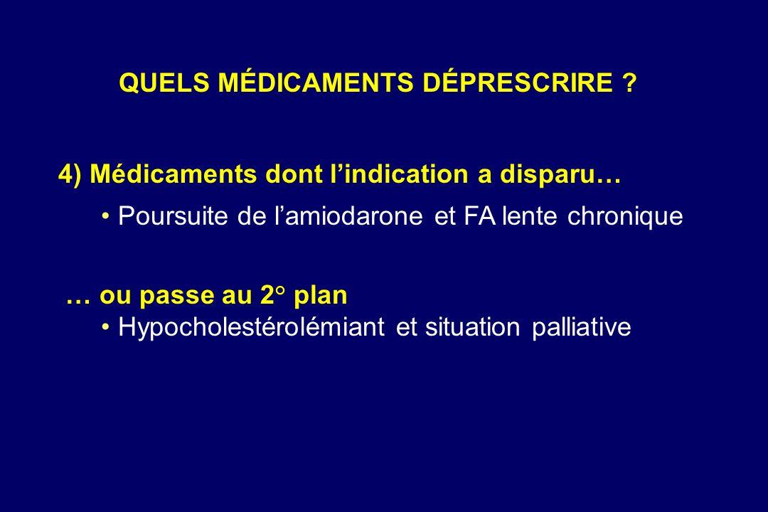 4) Médicaments dont lindication a disparu… Poursuite de lamiodarone et FA lente chronique … ou passe au 2° plan Hypocholestérolémiant et situation pal
