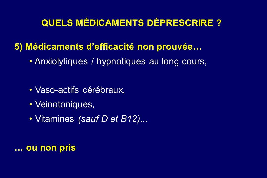 5) Médicaments defficacité non prouvée… Anxiolytiques / hypnotiques au long cours, Vaso-actifs cérébraux, Veinotoniques, Vitamines (sauf D et B12)...