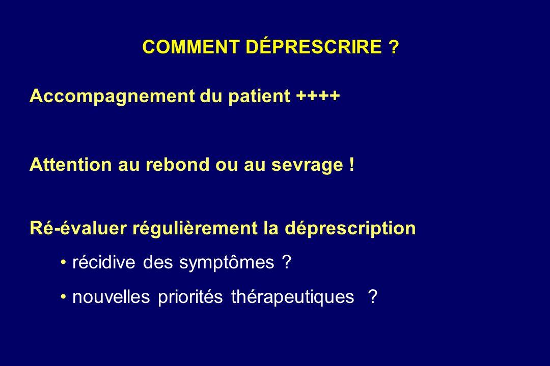 Accompagnement du patient ++++ Attention au rebond ou au sevrage ! Ré-évaluer régulièrement la déprescription récidive des symptômes ? nouvelles prior