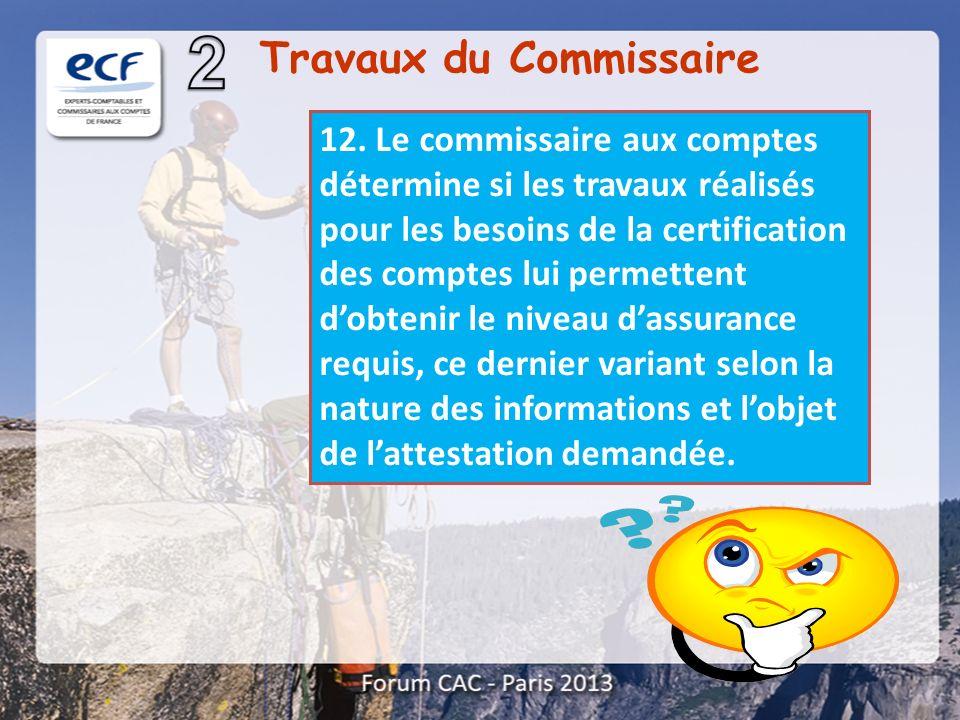 12. Le commissaire aux comptes détermine si les travaux réalisés pour les besoins de la certification des comptes lui permettent dobtenir le niveau da