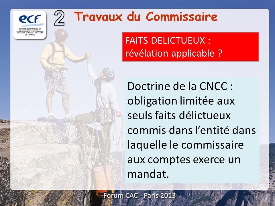 FAITS DELICTUEUX : révélation applicable ? Doctrine de la CNCC : obligation limitée aux seuls faits délictueux commis dans lentité dans laquelle le co