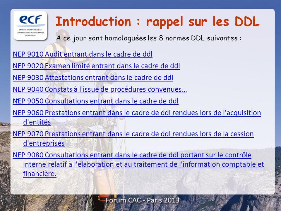 A ce jour sont homologuées les 8 normes DDL suivantes : Introduction : rappel sur les DDL NEP 9010 Audit entrant dans le cadre de ddl NEP 9020 Examen