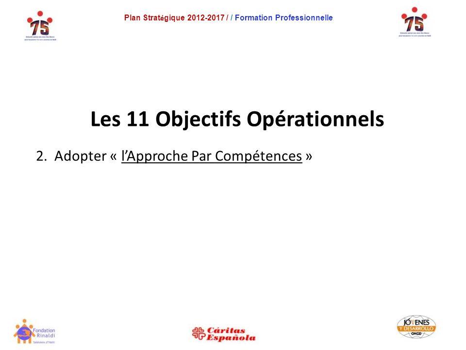 Plan Strat é gique 2012-2017 / / Formation Professionnelle Les 11 Objectifs Opérationnels 2.