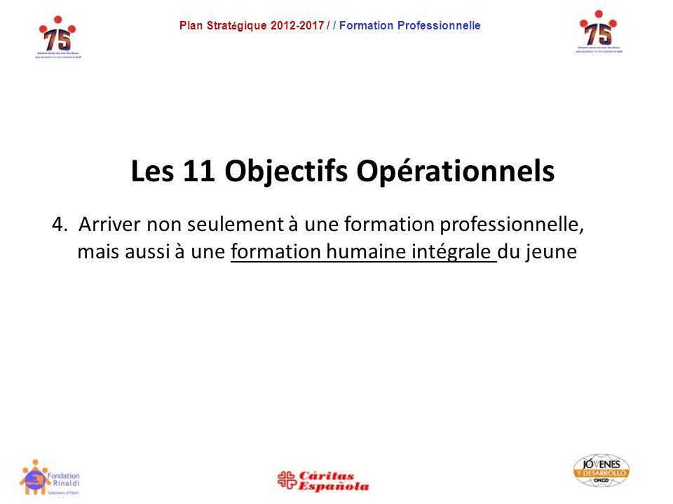 Plan Strat é gique 2012-2017 / / Formation Professionnelle Les 11 Objectifs Opérationnels 4.