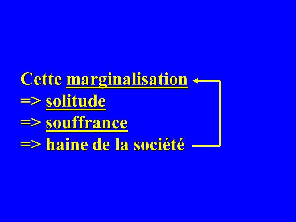 Cette marginalisation => solitude => souffrance => haine de la société