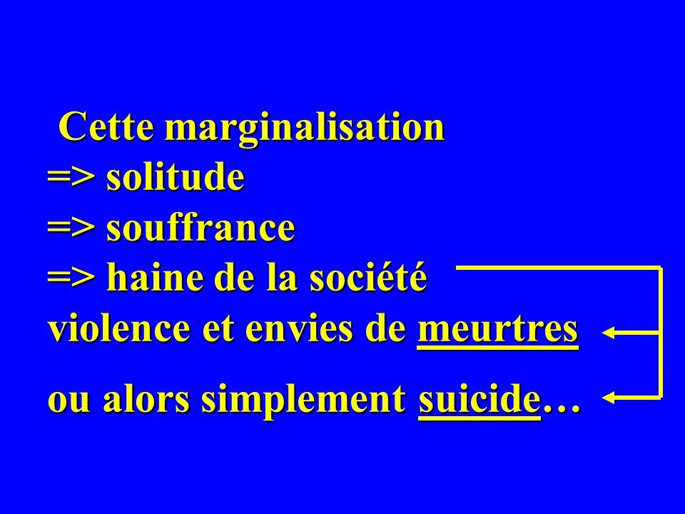 Cette marginalisation => solitude => souffrance => haine de la société violence et envies de meurtres ou alors simplement suicide… Cette marginalisation => solitude => souffrance => haine de la société violence et envies de meurtres ou alors simplement suicide…