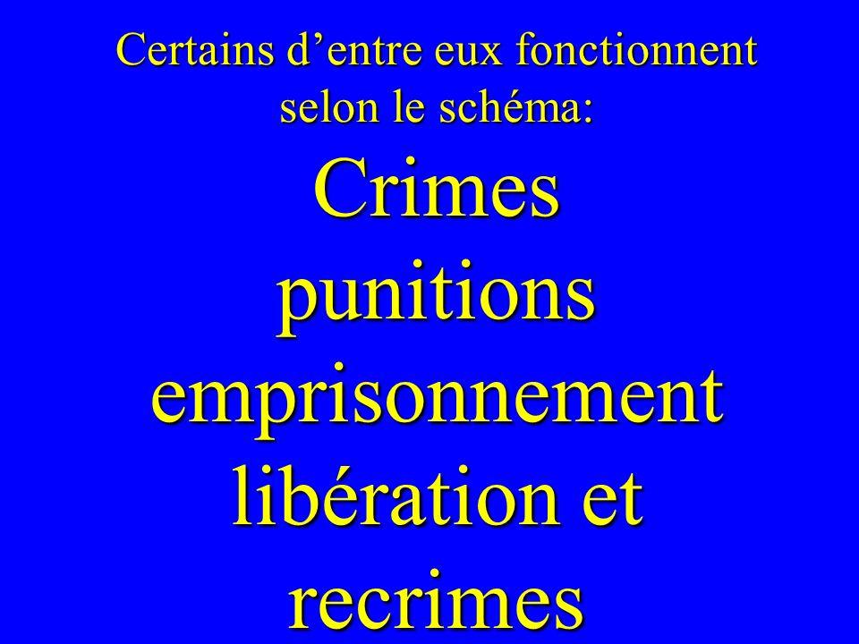Certains dentre eux fonctionnent selon le schéma: Crimes punitions emprisonnement libération et recrimes