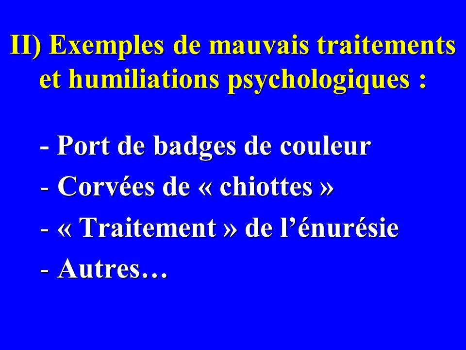 II) Exemples de mauvais traitements et humiliations psychologiques : Port de badges de couleur - Port de badges de couleur -Corvées de « chiottes » -«