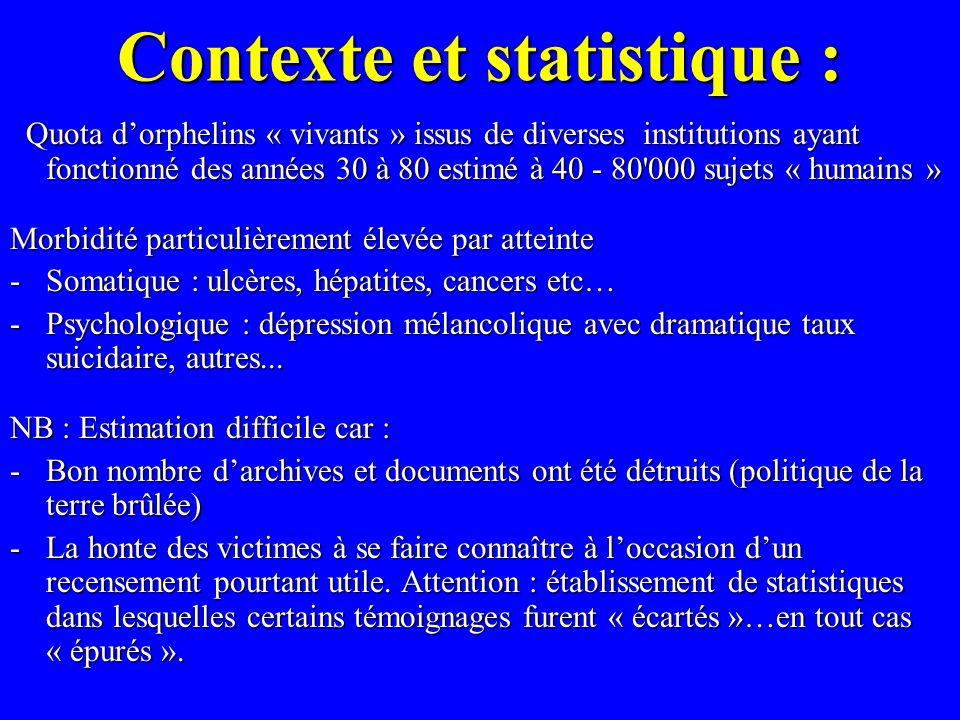 Contexte et statistique : Contexte et statistique : Quota dorphelins « vivants » issus de diverses institutions ayant fonctionné des années 30 à 80 es
