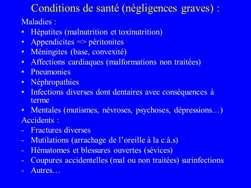 Conditions de santé (négligences graves) : Maladies : Hépatites (malnutrition et toxinutrition) Appendicites => péritonites Méningites (base, convexité) Affections cardiaques (malformations non traitées) Pneumonies Néphropathies Infections diverses dont dentaires avec conséquences à terme Mentales (mutismes, névroses, psychoses, dépressions…) Accidents : -Fractures diverses -Mutilations (arrachage de loreille à la c.à.s) -Hématomes et blessures ouvertes (sévices) -Coupures accidentelles (mal ou non traitées) surinfections -Autres…