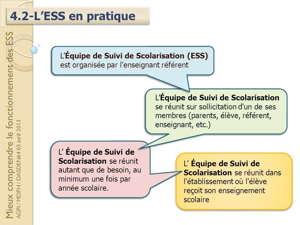 4.2-LESS en pratique L Équipe de Suivi de Scolarisation se réunit autant que de besoin, au minimum une fois par année scolaire. LÉquipe de Suivi de Sc