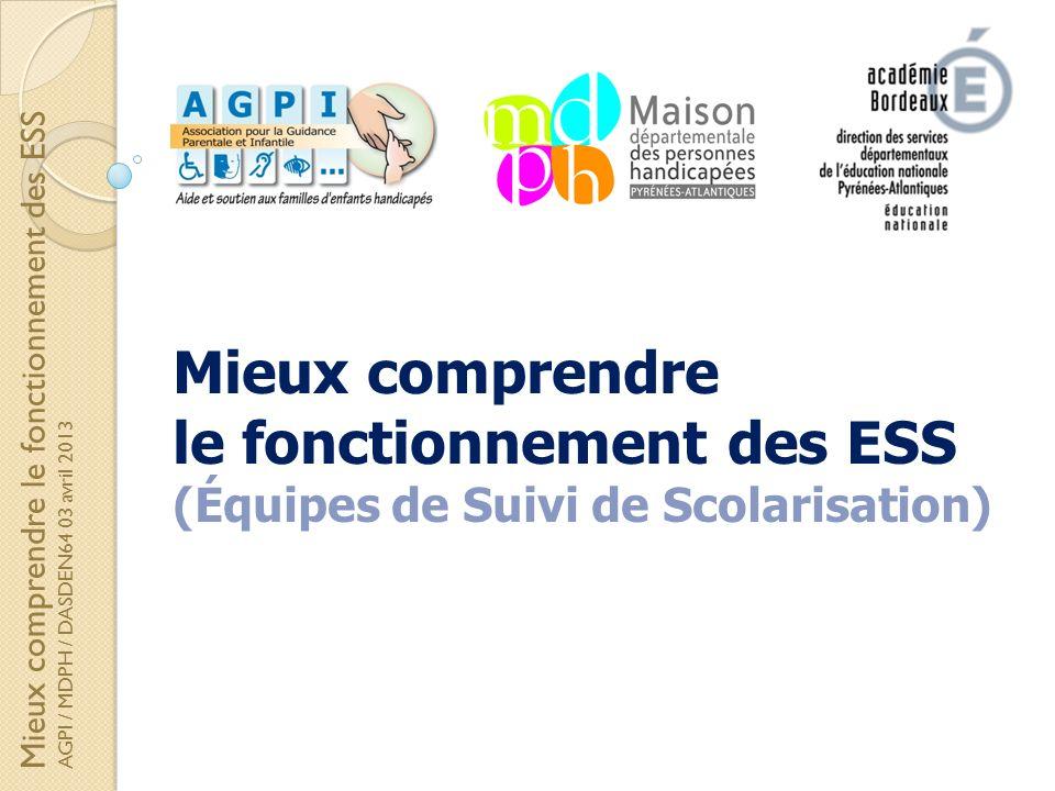 Mieux comprendre le fonctionnement des ESS (Équipes de Suivi de Scolarisation) Mieux comprendre le fonctionnement des ESS AGPI / MDPH / DASDEN64 03 av