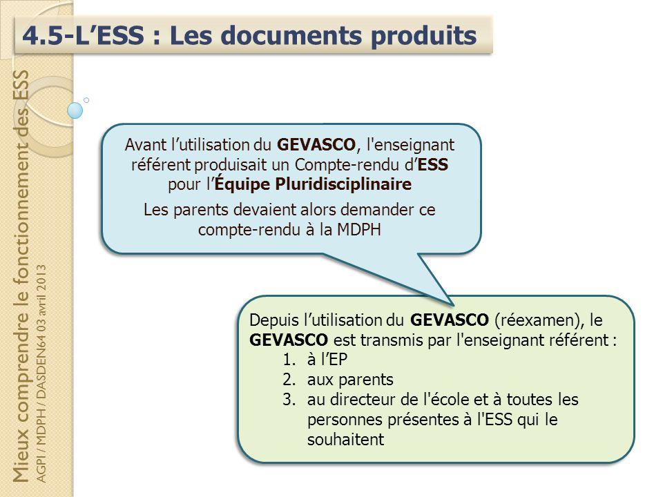 4.5-LESS : Les documents produits Depuis lutilisation du GEVASCO (réexamen), le GEVASCO est transmis par l'enseignant référent : 1.à lEP 2.aux parents