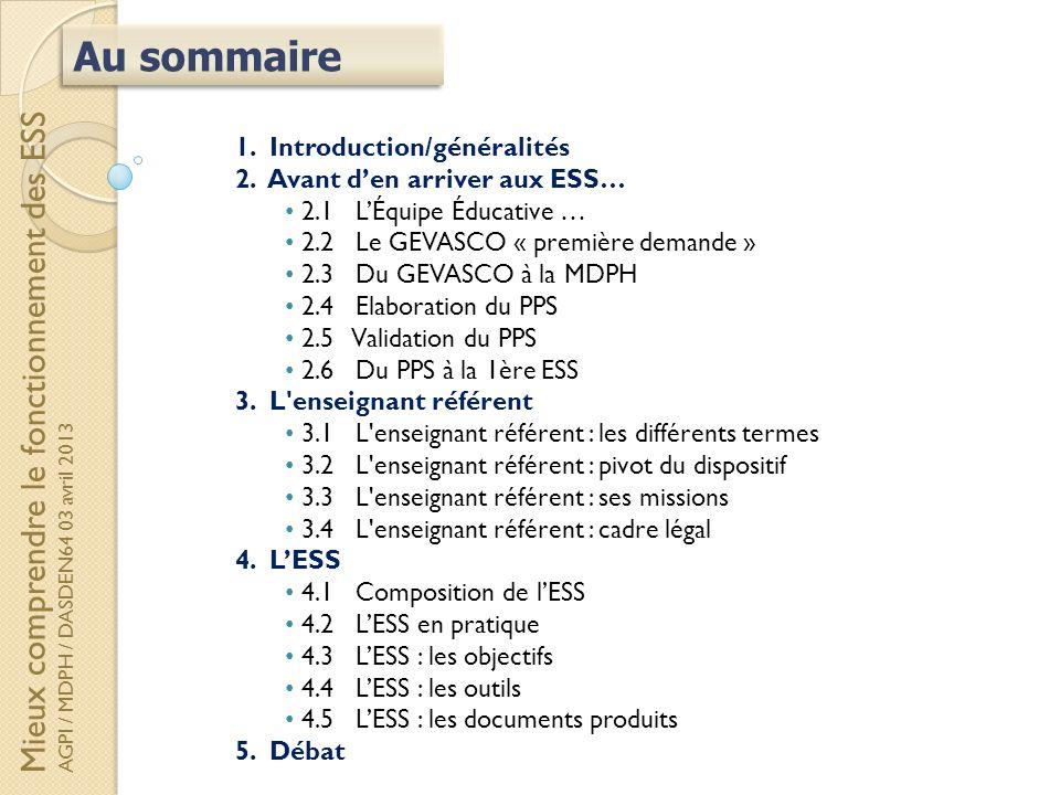 1. Introduction/généralités 2. Avant den arriver aux ESS… 2.1 LÉquipe Éducative … 2.2 Le GEVASCO « première demande » 2.3 Du GEVASCO à la MDPH 2.4 Ela