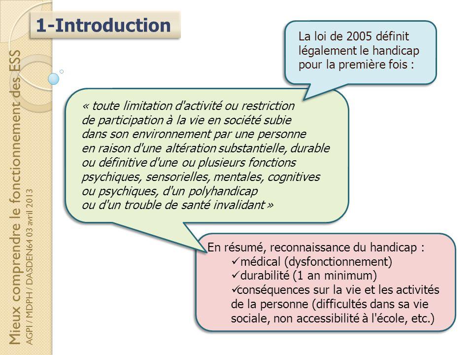 1-Introduction En résumé, reconnaissance du handicap : médical (dysfonctionnement) durabilité (1 an minimum) conséquences sur la vie et les activités