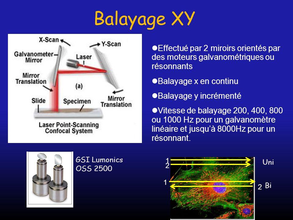 Balayage XY 1 2 Effectué par 2 miroirs orientés par des moteurs galvanométriques ou résonnants Balayage x en continu Balayage y incrémenté Vitesse de
